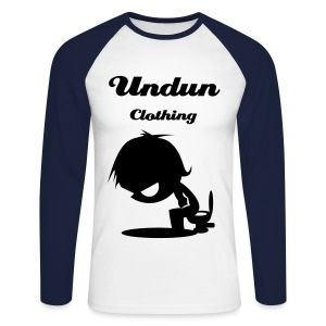 2 Colored Cartoon Creature on toilet Long sleeved T-shirt - Men's Long Sleeve Baseball T-Shirt