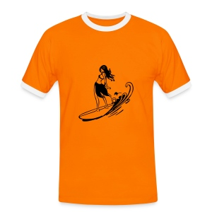 T.021Orange - T-shirt contrasté Homme