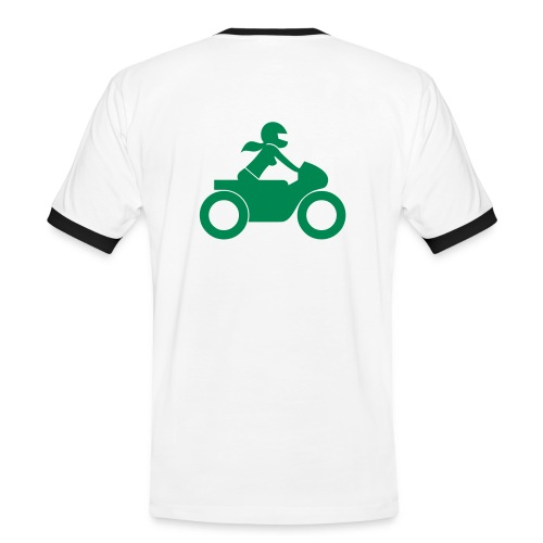 T-Shirt | green on yellow | back - Männer Kontrast-T-Shirt