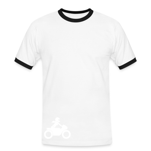 T-Shirt | white on red | front & back - Männer Kontrast-T-Shirt