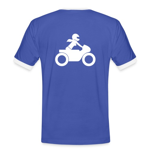 T-Shirt | white on blue | back - Männer Kontrast-T-Shirt