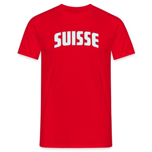 Suisse - Fussball T-Shirt rot - Silberner Druck - Männer T-Shirt