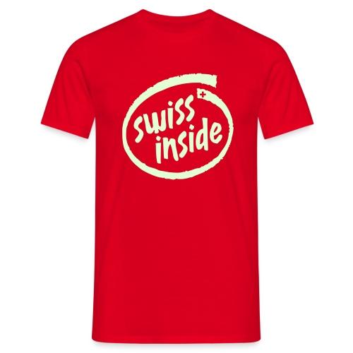 Swiss Inside - Name und Nummer frei wählbar - Fussball T-Shirt rot - Leuchtet im Dunkeln - Männer T-Shirt
