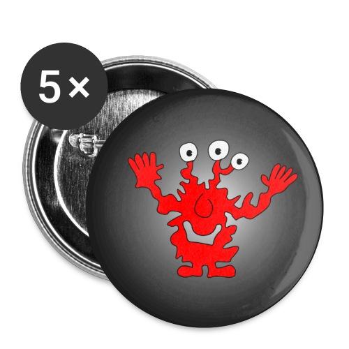 5 Monster zum Anstecken - Buttons klein 25 mm