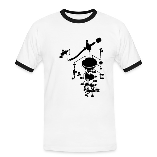 1200 Tonearm Black on White Mens Slim Contrast Tee - Mannen contrastshirt