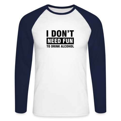 No_Fun tshirt - Men's Long Sleeve Baseball T-Shirt