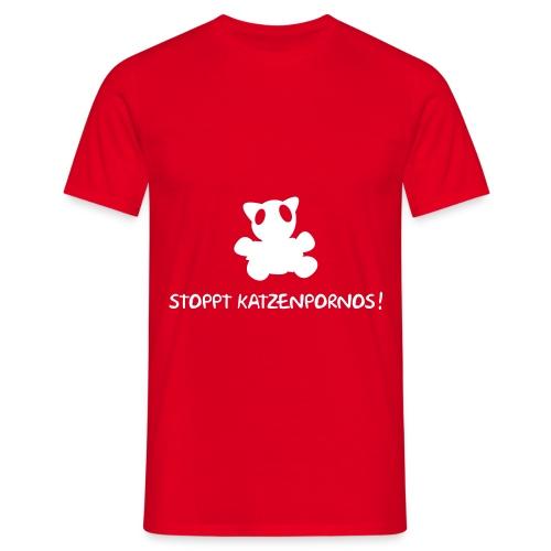 Katzenporno weiss/rot - Männer T-Shirt