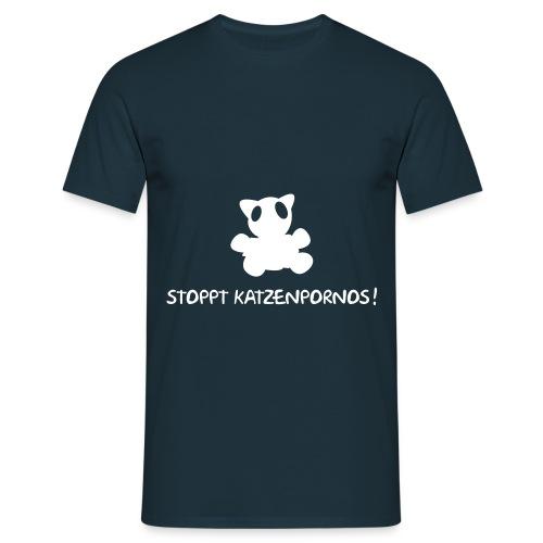 Katzenporno weiss/königsblau - Männer T-Shirt