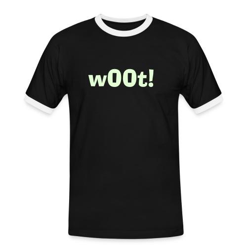 Mannen contrastshirt - Glow in the dark 'w00t' shirt! Ideaal voor in de darkroom!