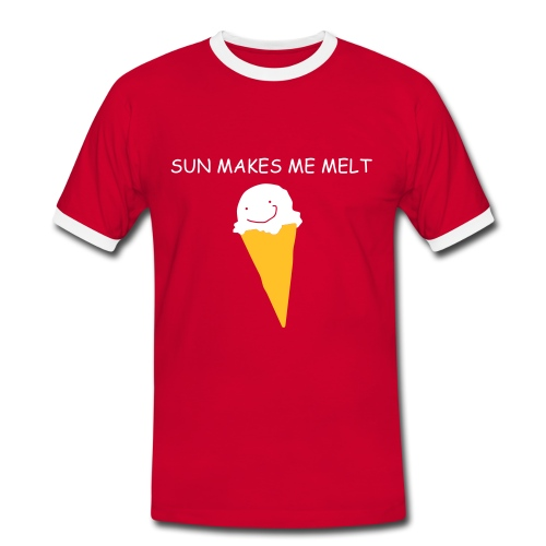 Men's Ringer Shirt - RED AND WHITE CONTRAST TSHIRT WITH UNIQUE SUN MAKES ME MELT AND ICE CREAM LOGO