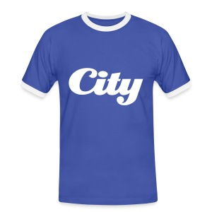 Mens Slim Contrast Tee City Blue - Men's Ringer Shirt