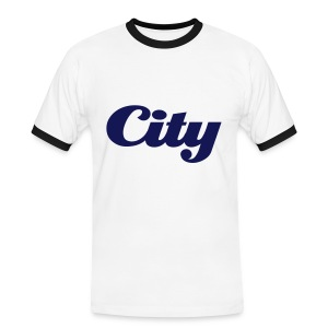 Mens Slim Contrast Tee City White - Men's Ringer Shirt