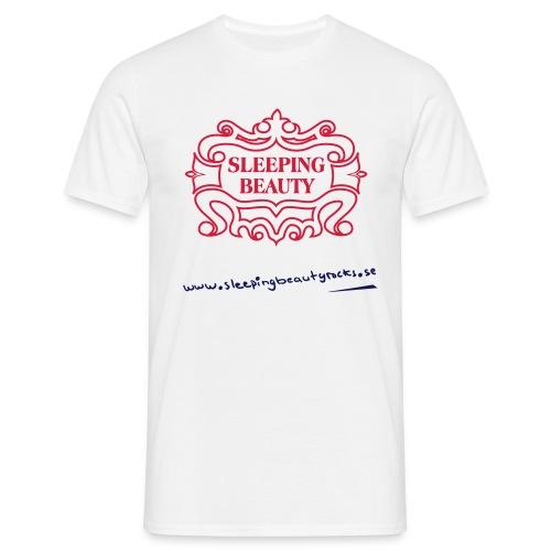 Rött&svart tryck på vit Comfort T t-shirt - T-shirt herr
