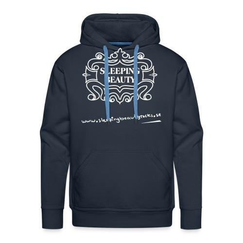 Vitt tryck på blå Hanes hoodie - Premiumluvtröja herr
