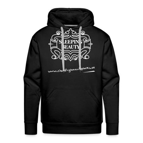 Vitt tryck på svart Hanes hoodie - Premiumluvtröja herr