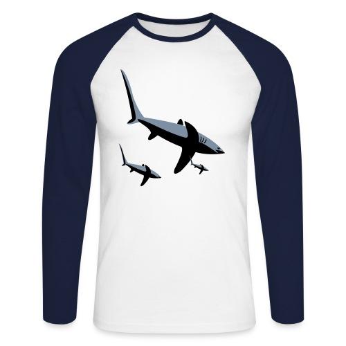 SPANKY'S MENS SHARK TEE - Men's Long Sleeve Baseball T-Shirt