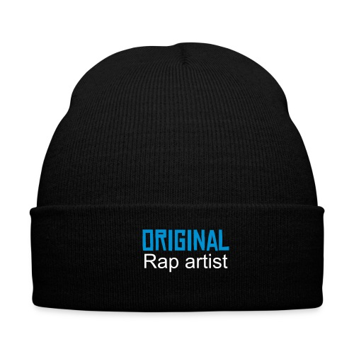 Winter Hat - A black woolley with blue and white text saying original rap artist.