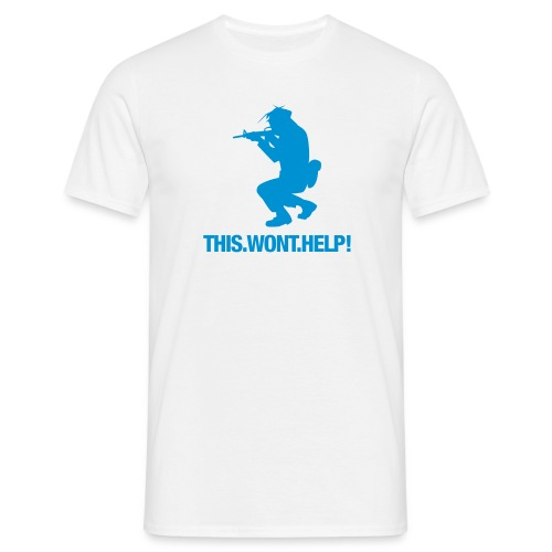 Men's T-Shirt - a WHITE blue logo grey text t Shirt £11.20