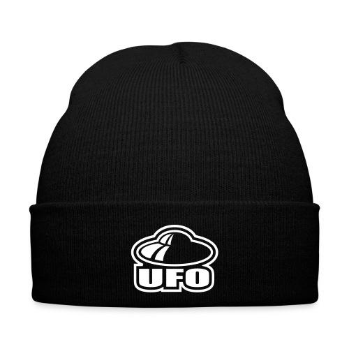 Winterhue - Sort hue med hvidt ufo motiv.