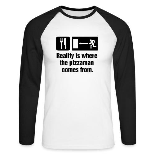 Langærmet herre-baseballshirt - Klassisk langærmet trøje med sort motiv foran.