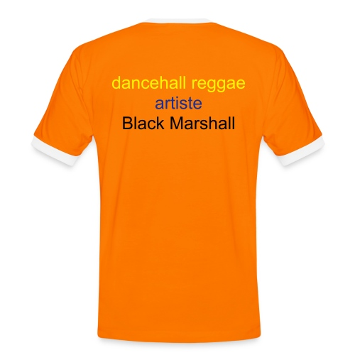 Men's Ringer Shirt - red with black trimmings men t-shirt, with textdancehall reggae artiste BLACK MARSHALL  poor people feeding tree