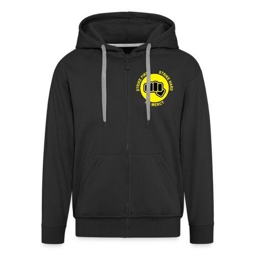 Black Strike First! Men's Longsleeves - Men's Premium Hooded Jacket