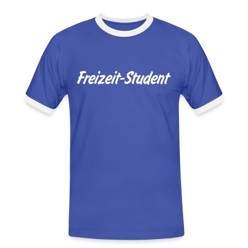 Men Slim Tee blue/white - Männer Kontrast-T-Shirt