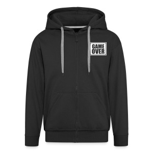 GAME OVER ZIPPED HOODIE WITH WHITE LOGO FRONT & BACK - Men's Premium Hooded Jacket