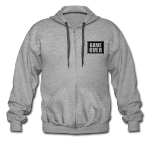 GAME OVER ZIPPED HOODIE WITH BLACL LOGO TO FRONT & BACK - Men's Premium Hooded Jacket
