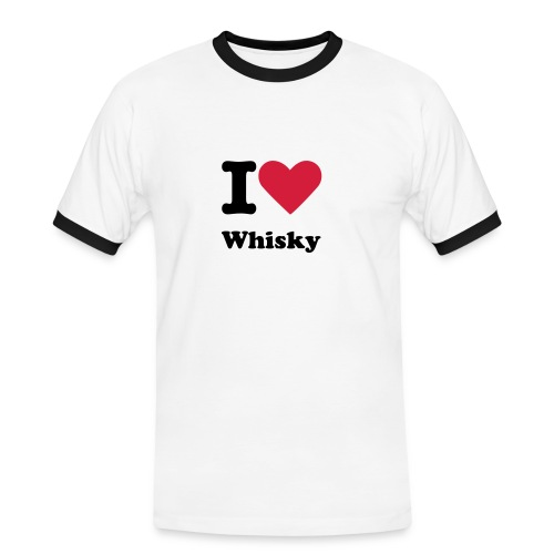 I love whisky - Kontrast-T-skjorte for menn