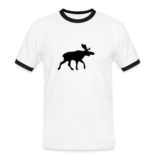 Hvit elg - Kontrast-T-skjorte for menn