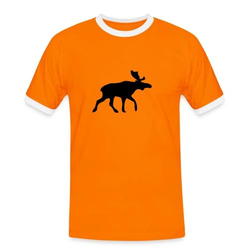 Orange elg - Kontrast-T-skjorte for menn