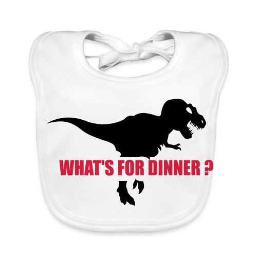 Baby Organic Bib - Very hungry dinosaur asks, What's for dinner?