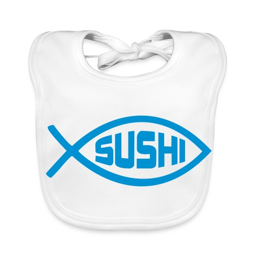 Baby Organic Bib - Sushi anyone? Very cute, one of a kind bib. Also available in Pink.