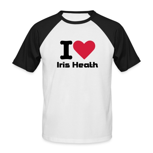 Men's Baseball T-Shirt - I (heart) Iris Heath Black and White Promodoro Raglan Shortsleeve
