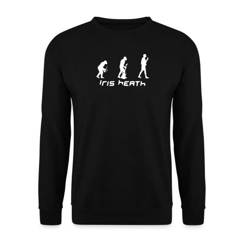 Men's Sweatshirt - Iris Heath Evolution on black jumper.