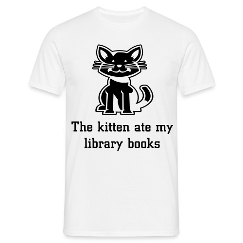 The kitten ate my library books white tee - Men's T-Shirt