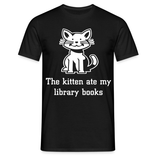 The kitten ate my library books black tee - Men's T-Shirt