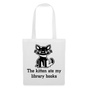 The kitten ate my library books white tote bag - Tote Bag