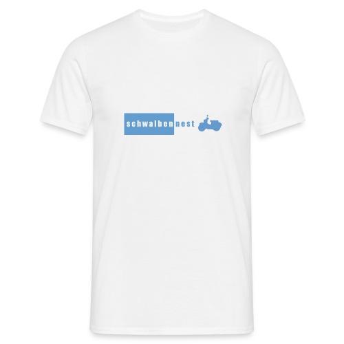 T-Shirt mit Schwalbennest-Logo auf Brust (weiß/blau) - Männer T-Shirt