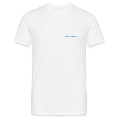 T-Shirt mit Schwalbennest-Schriftzug auf linker Brust (weiß/blau) - Männer T-Shirt