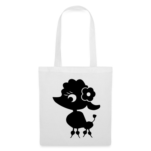 Black Poodle on White Bag - Tote Bag