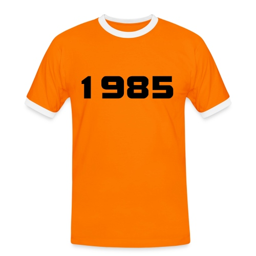 1985 big 20 mens orange and black t shirt - Men's Ringer Shirt