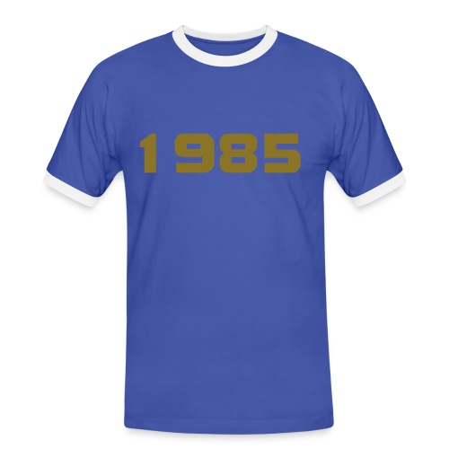 1985 big 20 mens blue with gold mettalic centered 1985 logo and big 20 gold logo on reverse - Men's Ringer Shirt