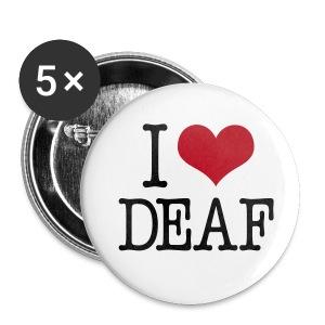I (Herz) DEAF - Buttons groß 56 mm