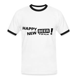 happy new beer! - Kontrast-T-skjorte for menn