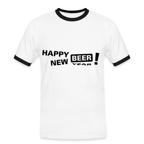 happy new beer! - Kontrast-T-skjorte for menn