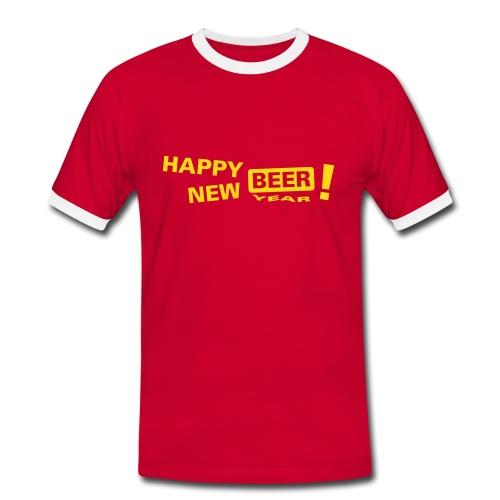 Happy new beer - Kontrast-T-skjorte for menn