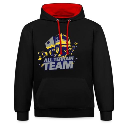 4Wheel24 - All Terrain Team Black R2R- Hoodie Männer - Kontrast-Hoodie