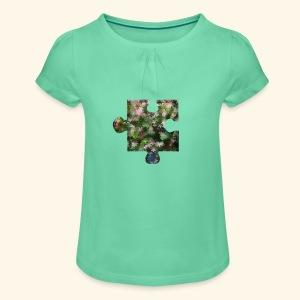 Mädchenshirt Puzzel - Mädchen-T-Shirt mit Raffungen